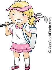 menina, golfe