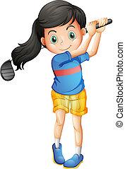 menina, golfe, jovem, tocando