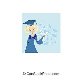 menina, graduação, cartão, feliz