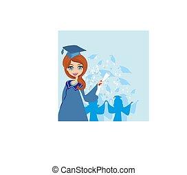 menina, graduação, cartão