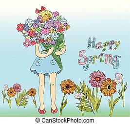 menina, graphic., ilustração, flowers., vetorial, crianças, livros, primavera