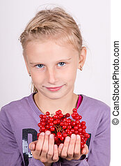menina, grupo, jovem, viburnum, segurando