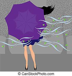 menina, guarda-chuva, vento, fechado