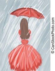 menina, guarda-chuva, vermelho, chuva