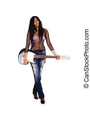 menina, guitar., segurando, dela