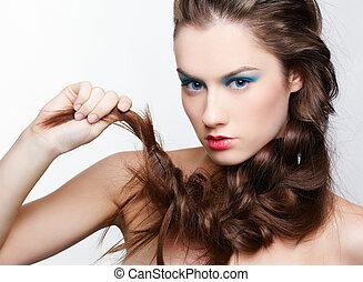 menina, hair-do, criativo