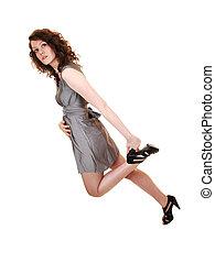 menina, heels., segurando, dela