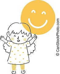 menina, ilustração, lembre, criança, sorrizo
