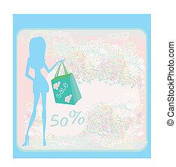 menina, ilustração, moda, shopping