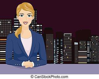 menina, ilustração, newscaster