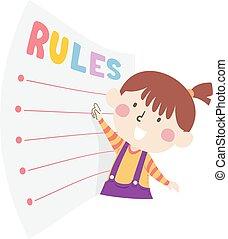 menina, ilustração, seguir, regras, criança