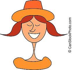 menina, ilustração, vetorial, fundo, chapéu branco, sorrindo