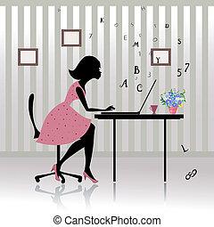 menina, impressões, escritório