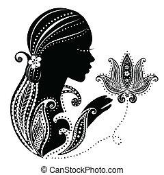 menina, indianas, flor