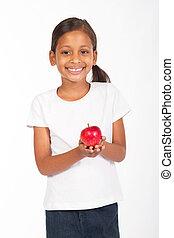 menina, indianas, maçã, segurando, vermelho