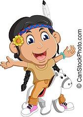 menina, indigenas, americano