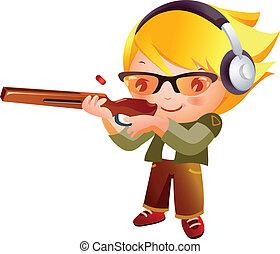 menina, injetor disparando