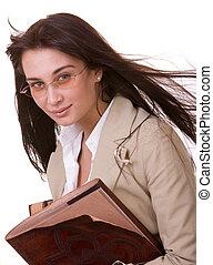 menina, inteligente, book., antigas