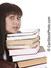 menina, inteligente, montão, book.