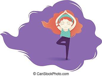 menina, ioga, ilustração, criança