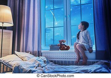 menina, janela, sentando