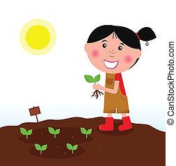 menina, jardinagem, botas vermelhas