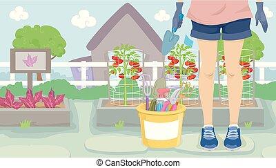 menina, jardinagem, ilustração