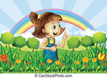 menina, jardinagem, jovem