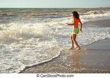 menina, jogo, praia