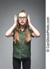 menina, jovem, óculos