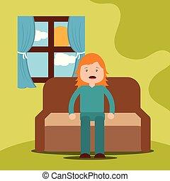 menina jovem, bocejar, sentar sofá