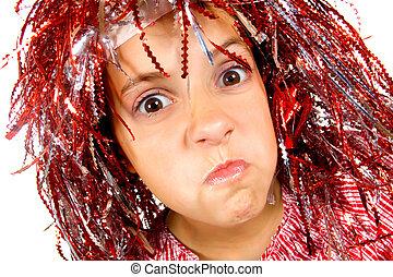 menina jovem, com, carnaval, peruca
