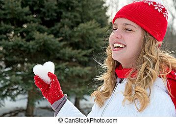 menina jovem, com, gelo, coração