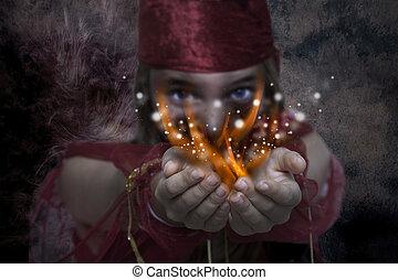 menina jovem, com, magia, mãos
