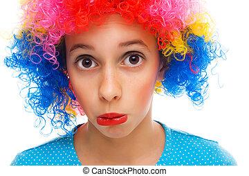menina jovem, com, partido, peruca
