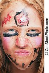 menina jovem, com, pintado, rosto