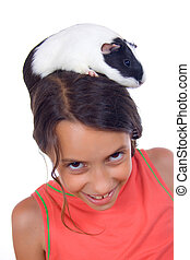 menina jovem, com, porco guinea