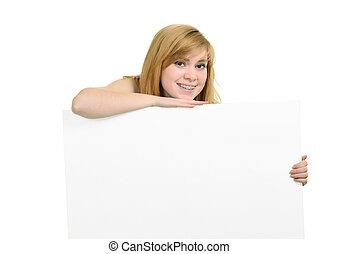 menina jovem, com, suportes, e, branca, billboard