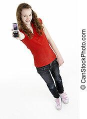 menina jovem, com, telefone móvel