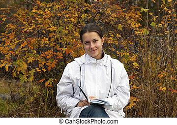 menina jovem, com, um, livro