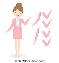 menina jovem, cor-de-rosa, mão, apartamento, vetorial, roupas, braço, poses., negócio, illustration., mulher, uniform., escritório, diferente, caricatura