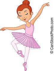 menina jovem, dançarino, balé, caricatura
