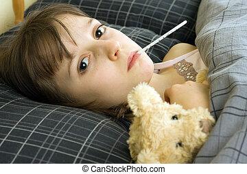 menina jovem, doente, cama