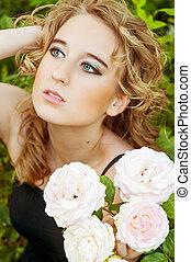 menina jovem, e, flores