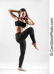 menina jovem, fazendo, emagrecedor, exercícios