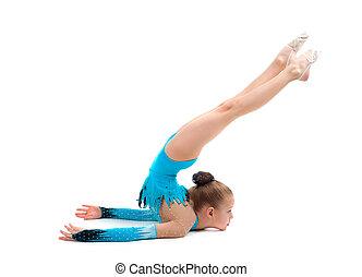 menina jovem, fazendo, ginástica