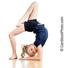 menina jovem, fazendo, ginástica, sobre, fundo branco