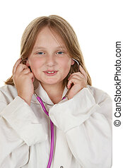 menina jovem, fingir, para, ser, um, doutor