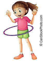 menina, jovem, hulahoop, tocando