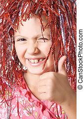 menina jovem, mostrando, polegar cima